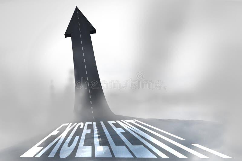 Eccellente! contro tornitura della strada nella freccia royalty illustrazione gratis
