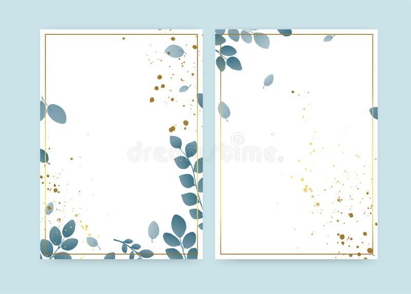 Eccellente sfondo naturale primaverile per la decorazione di testi Inviti per matrimoni con rami di foglia, cornice d'oro e spruz illustrazione vettoriale