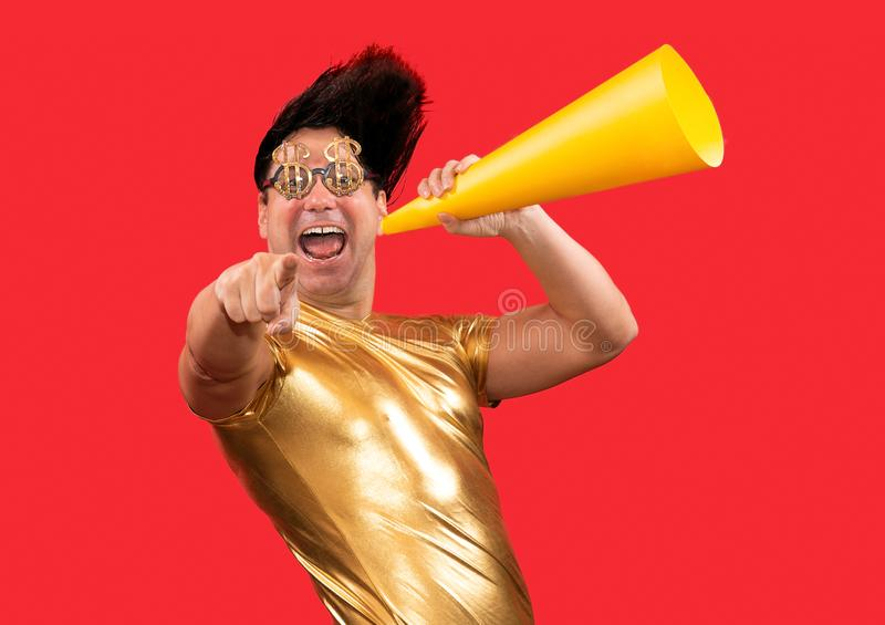 An eccentric man with a megaphone stock images