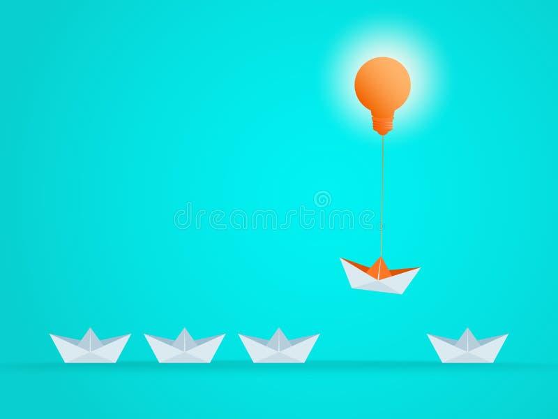 Eccezionale la barca aumenta sopra con l'idea della lampadina Opportunità di vantaggio di affari illustrazione di stock