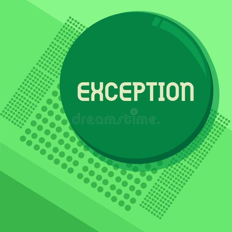 Eccezione del testo della scrittura Concetto che significa dimostrazione o cosa che si escludono dalla dichiarazione o dalla rego illustrazione vettoriale
