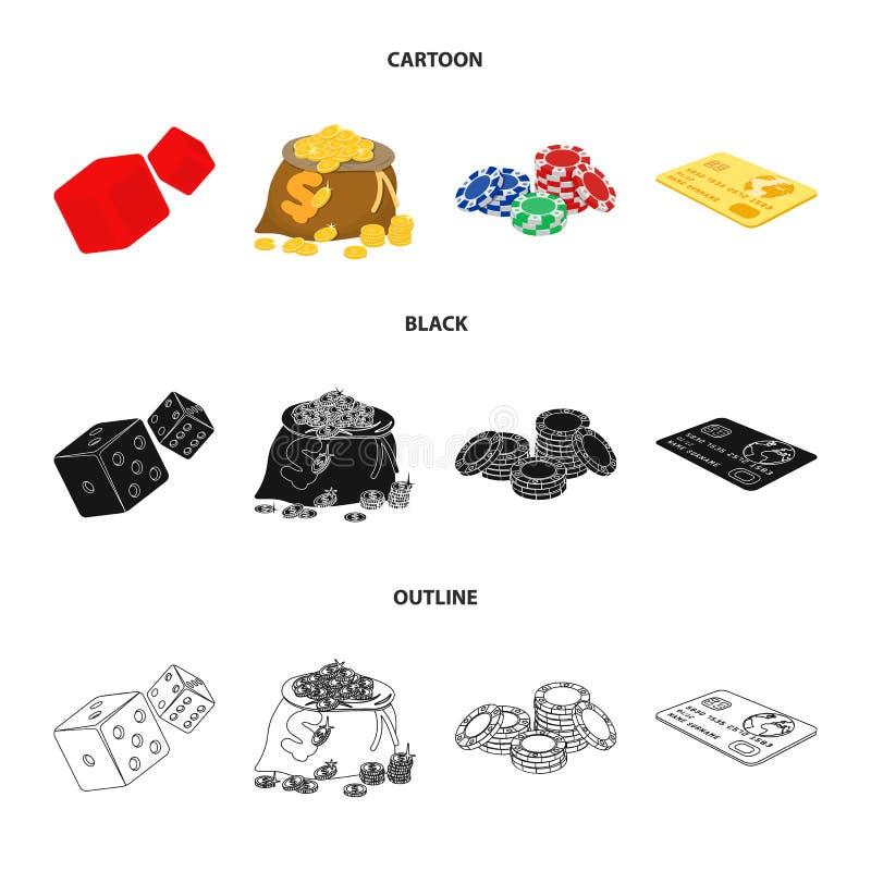 Eccitazione, ricreazione, hobby e l'altra icona di web nel fumetto, il nero, stile del profilo Casinò, istituzione, spettacolo illustrazione vettoriale