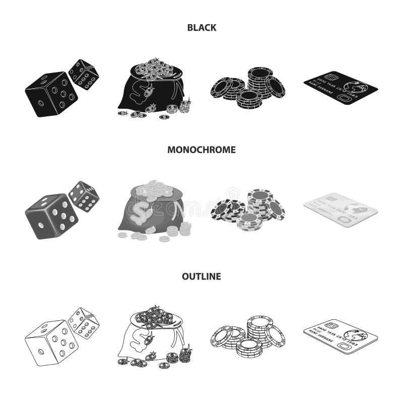 Eccitazione, ricreazione, hobby e l'altra icona di web in nero, monocromatico, stile del profilo Casinò, istituzione, spettacolo royalty illustrazione gratis