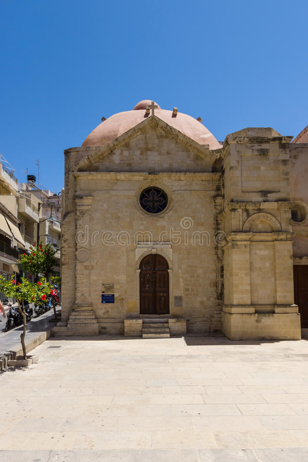 Ecclesiastical Museum Agia Ekaterini (St. Catherine) as part of a complex of buildings of Agios Minas Cathedral. HERAKLION, GREECE - JULY 09, 2016: Crete stock photo