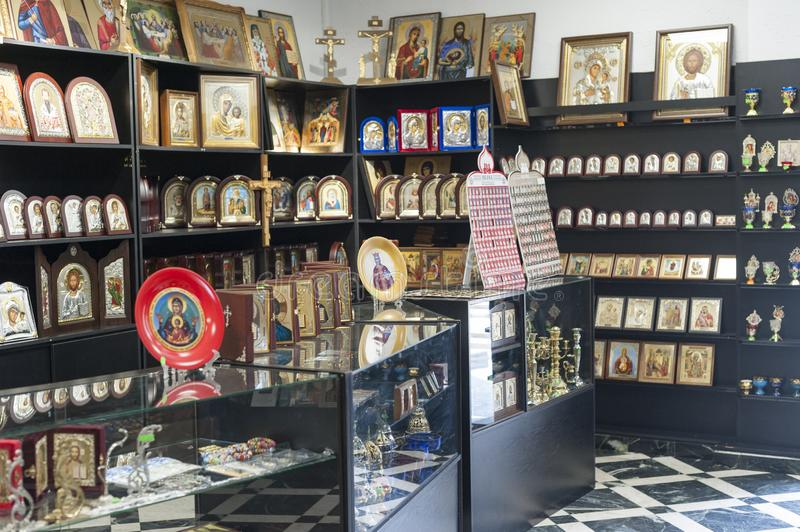 Ecclesiastical souvenir shop. Interior of an ecclesiastical souvenir shop, located near the chisinau cathedral in republic of moldova royalty free stock images