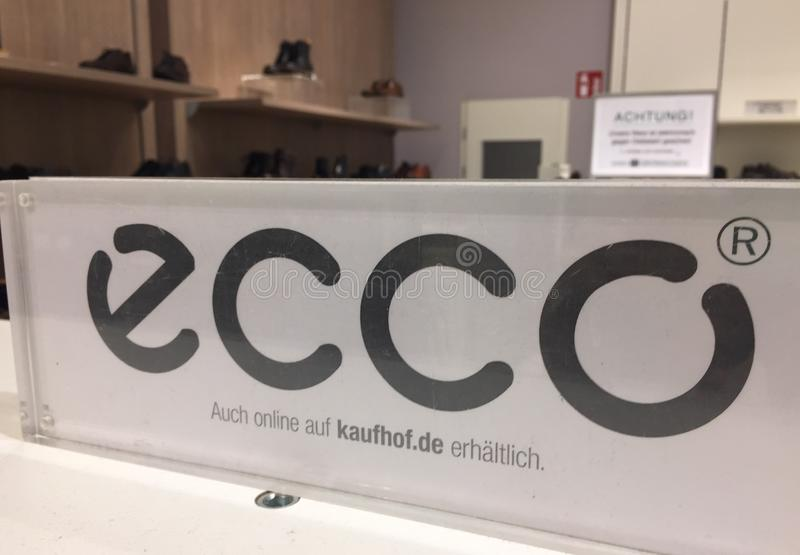 Ecco shoe store sign. Since 1963, Ecco is a Danish shoemaker company providing high quality, casual comfortable shoes royalty free stock photos
