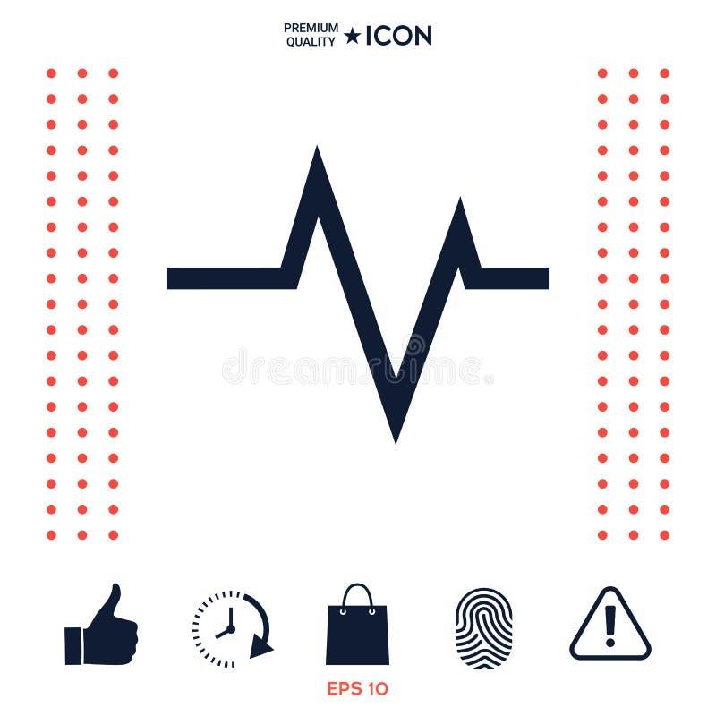 ECG波浪-心电图标志 黑色更改图标肝脏医疗保护白色 库存例证