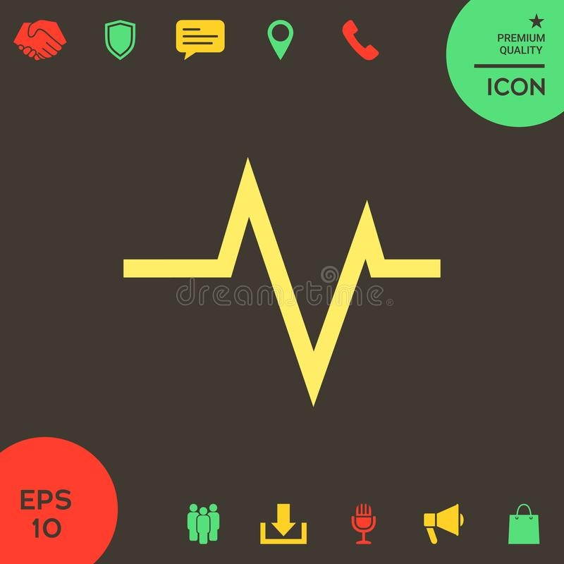 ECG波浪-心电图标志 黑色更改图标肝脏医疗保护白色 向量例证
