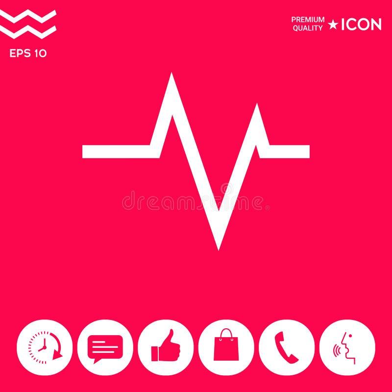 ECG波浪-心电图标志 黑色更改图标肝脏医疗保护白色 皇族释放例证