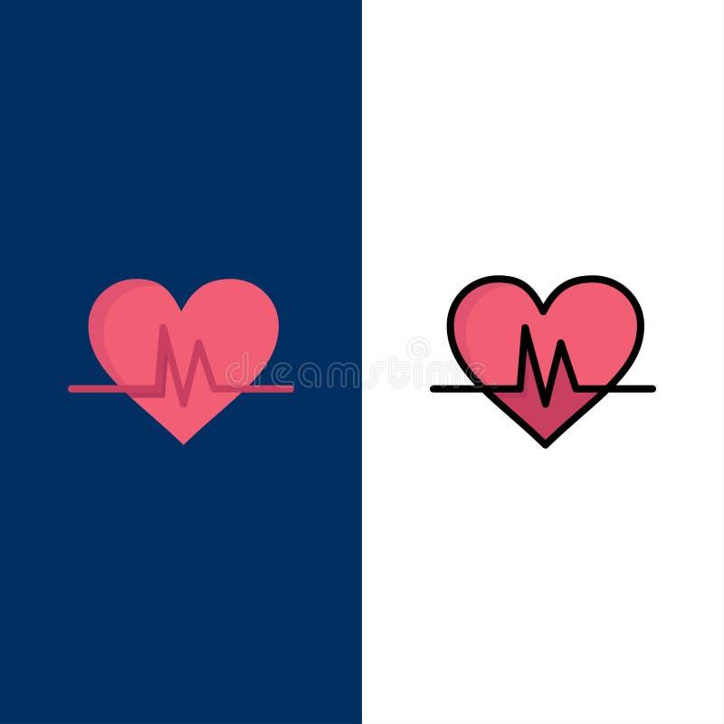 Ecg, καρδιά, κτύπος της καρδιάς, εικονίδια σφυγμού Επίπεδος και γραμμή γέμισε το καθορισμένο διανυσματικό μπλε υπόβαθρο εικονιδίω διανυσματική απεικόνιση