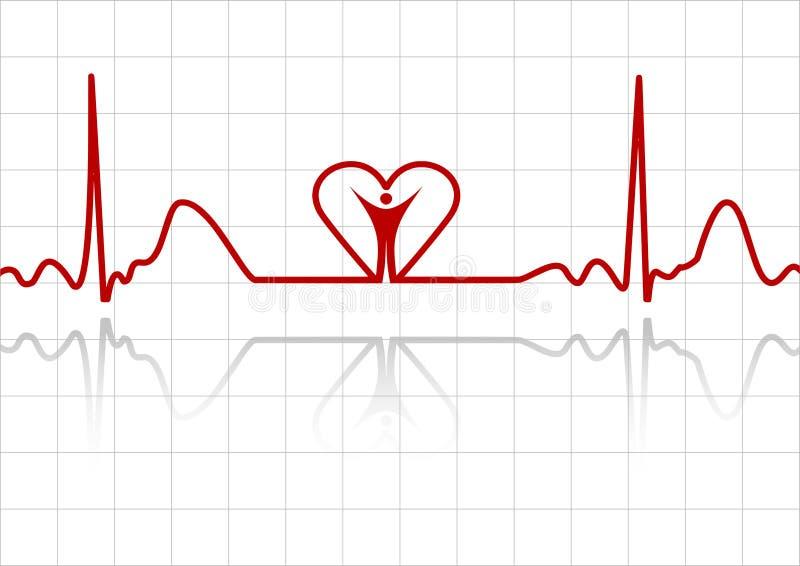 ECG с человеком и сердцем иллюстрация штока