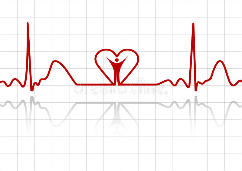 ECG avec l'homme et le coeur illustration stock
