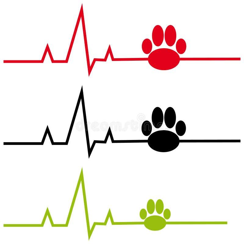 ECG avec la patte de chien sur le fond blanc illustration de vecteur