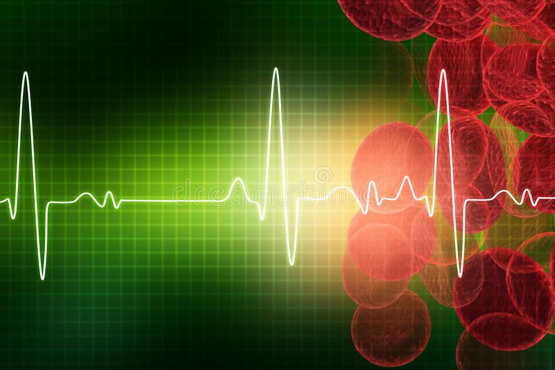 ECG with blood cells. Electrocardiography, medical and healthcare background royalty free illustration