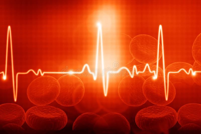 ECG with blood cells. Electrocardiography, medical and healthcare background stock illustration