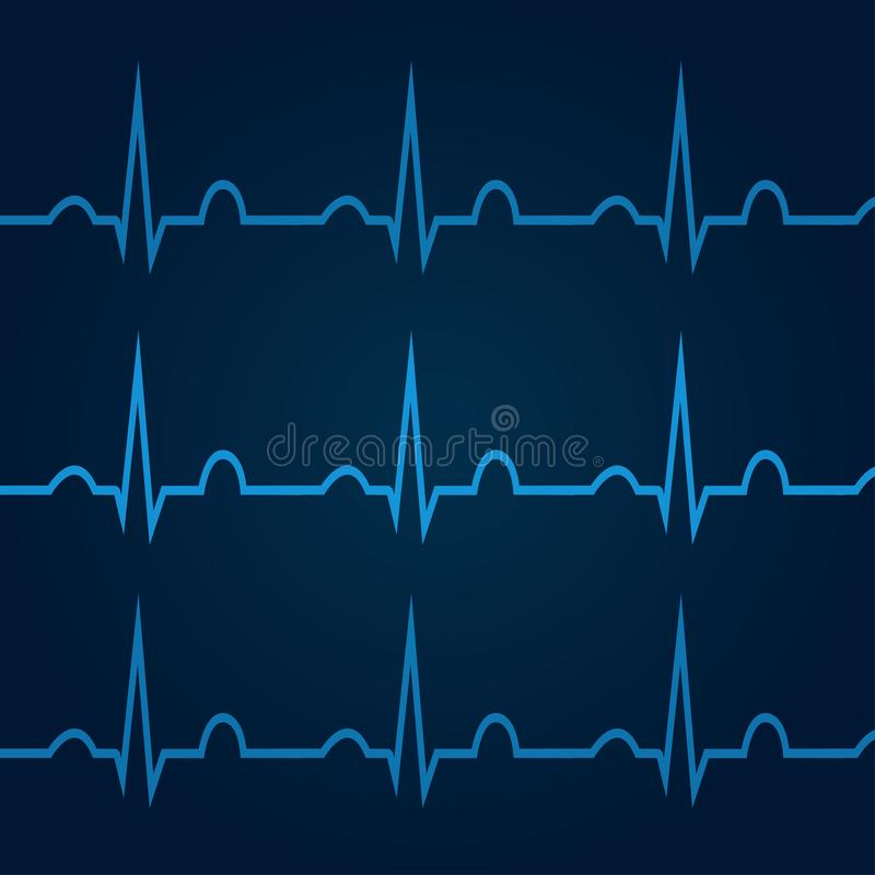 ECG on blue background 1. ECG on blue background. Healthcare medical background with heart cardiogram. For For use in medical banners, posters, templates royalty free illustration