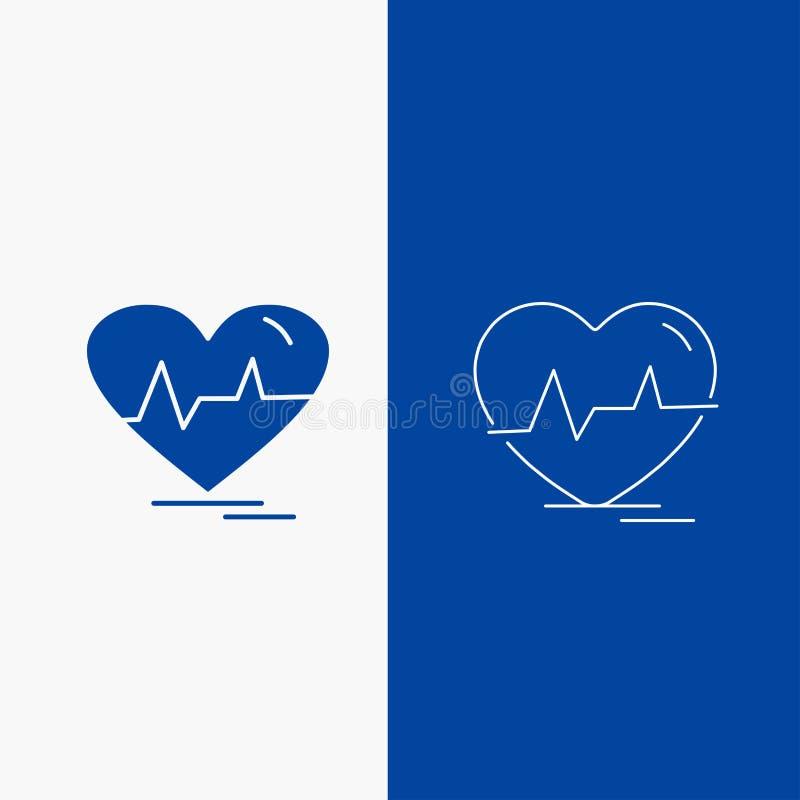 ecg, coração, pulsação do coração, pulso, botão da Web batida da linha e do Glyph na bandeira vertical da cor azul para UI e UX,  ilustração royalty free