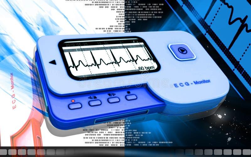 ECG. Digital illustration of ECG in colour background stock illustration