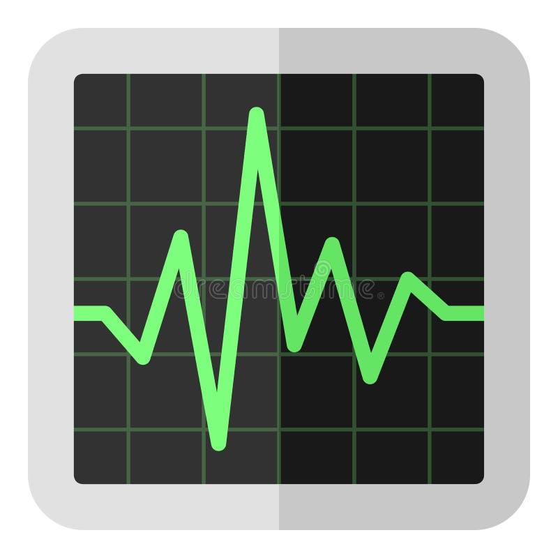 ECG Electrocardiogram Flat Icon on White. Electrocardiogram screen flat icon, isolated on white background. Eps file available stock illustration