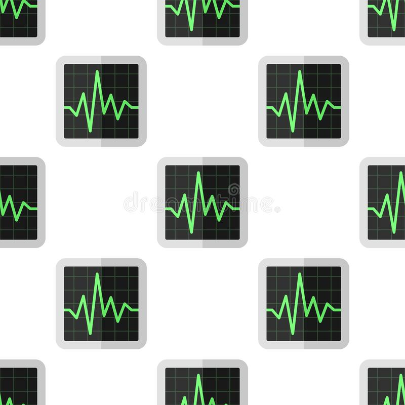 ECG Electrocardiogram Seamless Pattern. A seamless pattern with an electrocardiogram screen flat icon, isolated on white background. Useful also as design vector illustration