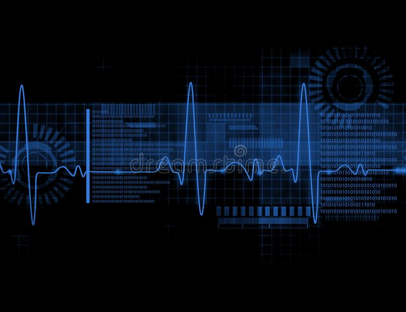 ECG Electrocardiography. Medical and healthcare background stock illustration