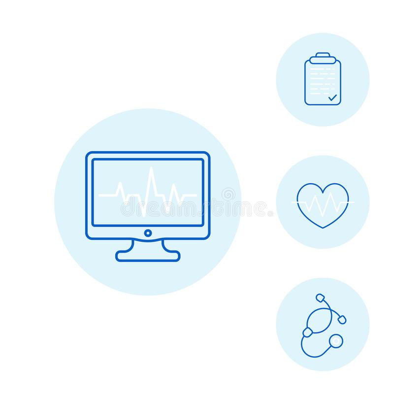 Ecg, electrocardiography, heart diagnostic icons. Ecg, electrocardiography, heart diagnostic and treatment line icons royalty free illustration