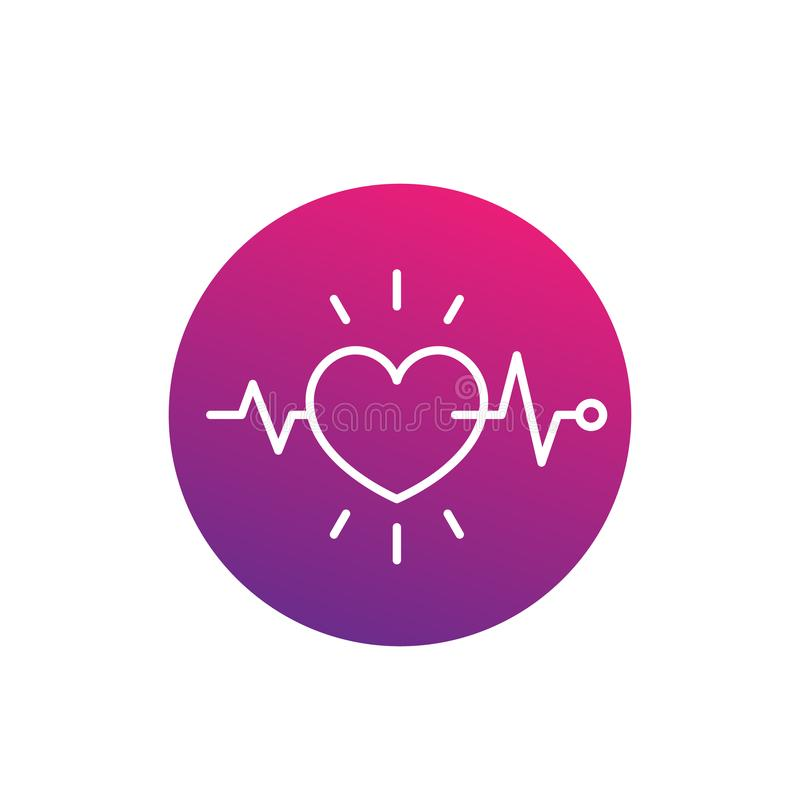 Ecg, electrocardiography, heart diagnostics icon. Linear style, eps 10 file, easy to edit royalty free illustration