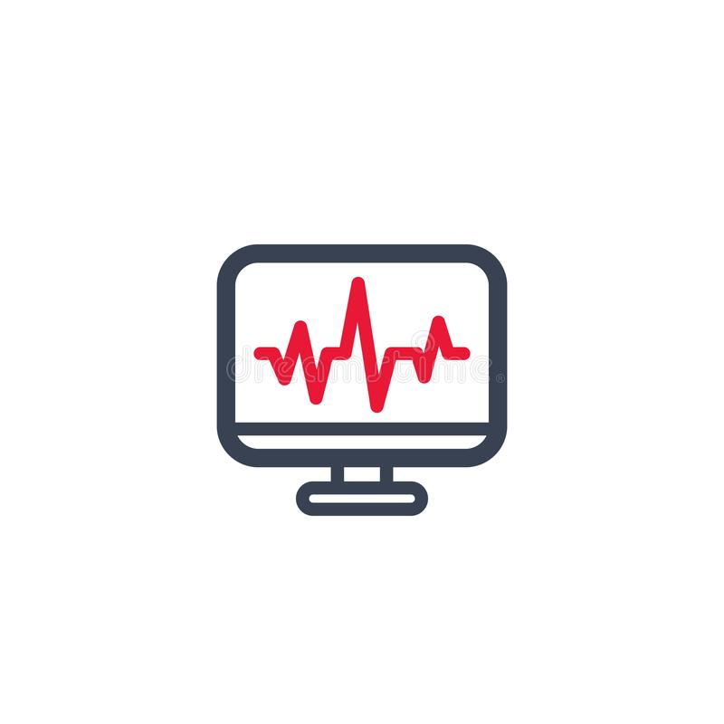Ecg, electrocardiography, heart diagnostics icon. On white, eps 10 file, easy to edit royalty free illustration