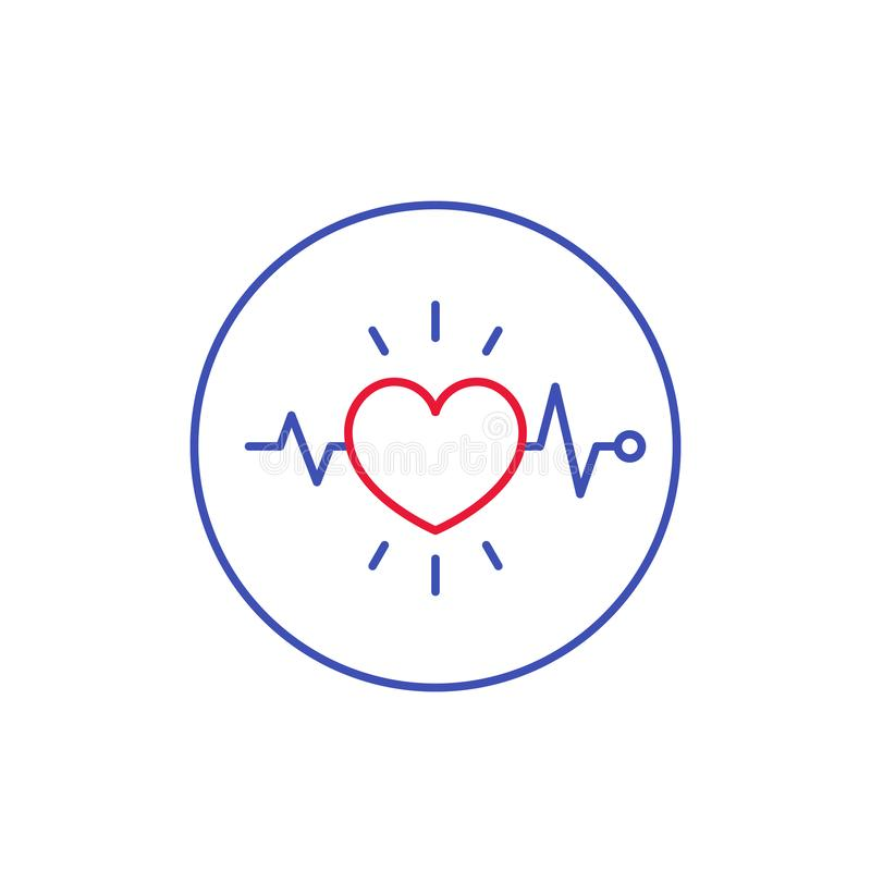 Ecg, electrocardiography, heart diagnostics icon. Ecg, electrocardiography, heart diagnostics linear icon, eps 10 file, easy to edit vector illustration
