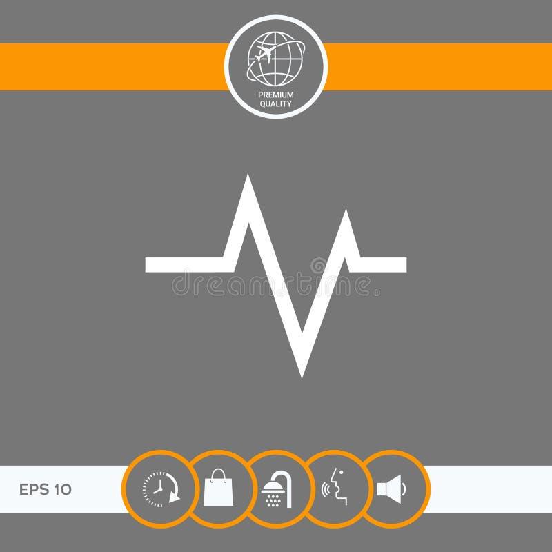 ECG fala - kardiograma symbol czarny zmiany ikony wątrobowy medyczny ochrony po prostu biel royalty ilustracja