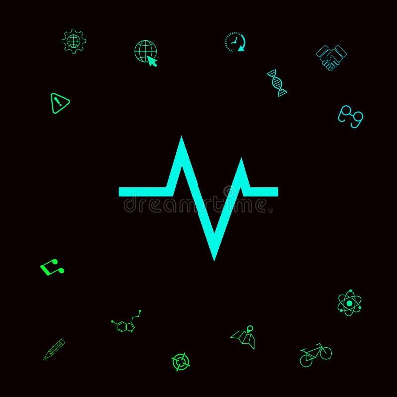 ECG fala - kardiograma symbol czarny zmiany ikony wątrobowy medyczny ochrony po prostu biel ilustracja wektor
