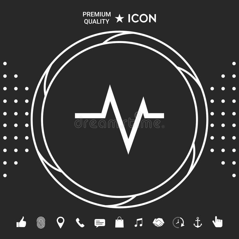 ECG fala - kardiograma symbol czarny zmiany ikony wątrobowy medyczny ochrony po prostu biel ilustracji