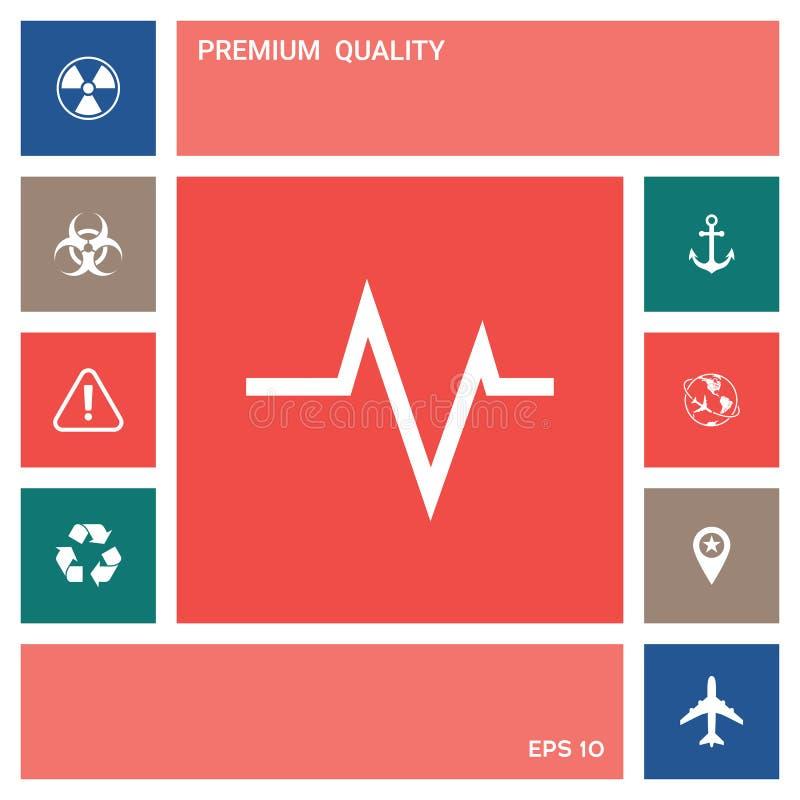 ECG fala - kardiograma symbol czarny zmiany ikony wątrobowy medyczny ochrony po prostu biel elementy projektów galerii ikony widz ilustracji