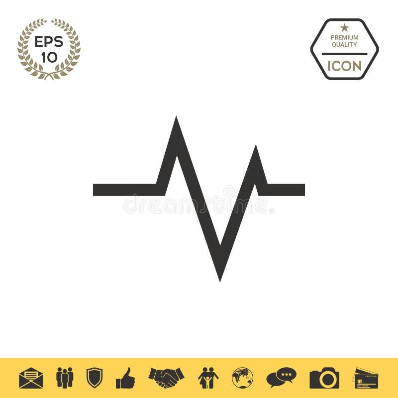 ECG-golf - cardiogramsymbool Medisch pictogram stock illustratie