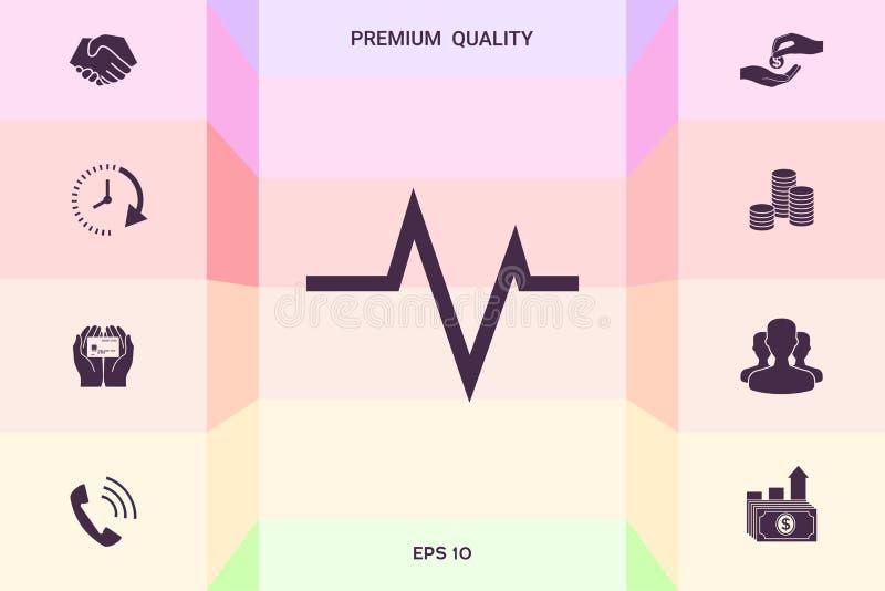 ECG-golf - cardiogramsymbool Medisch pictogram Grafische elementen voor uw ontwerp stock illustratie