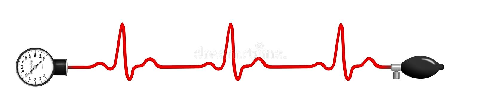 ECG graph with blood pressure gauge. Elecktrocardiogram (ECG) graph with blood pressure gauge isolated on white background vector illustration