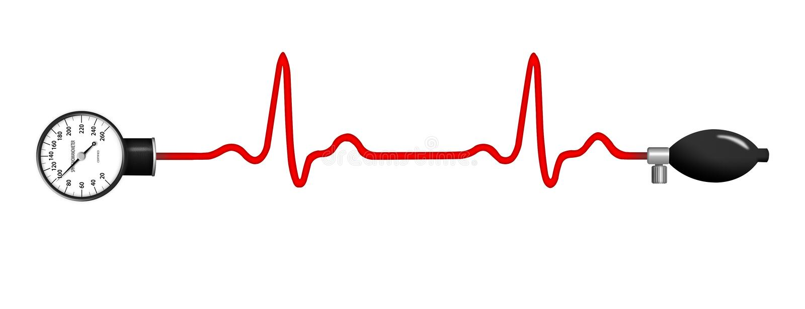 ECG graph with blood pressure gauge stock illustration