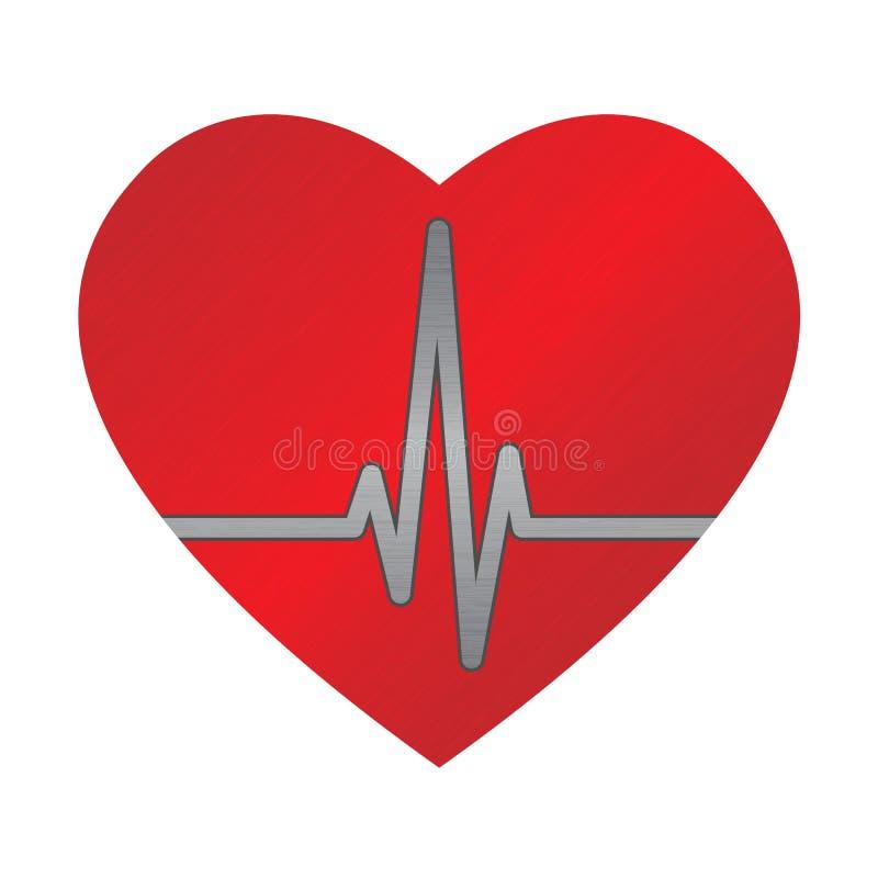 Ecg heart. Big red dappled heart with ecg graph vector illustration