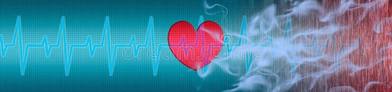 ECG, heart, cigarette smoke. Makes you sick stock illustration