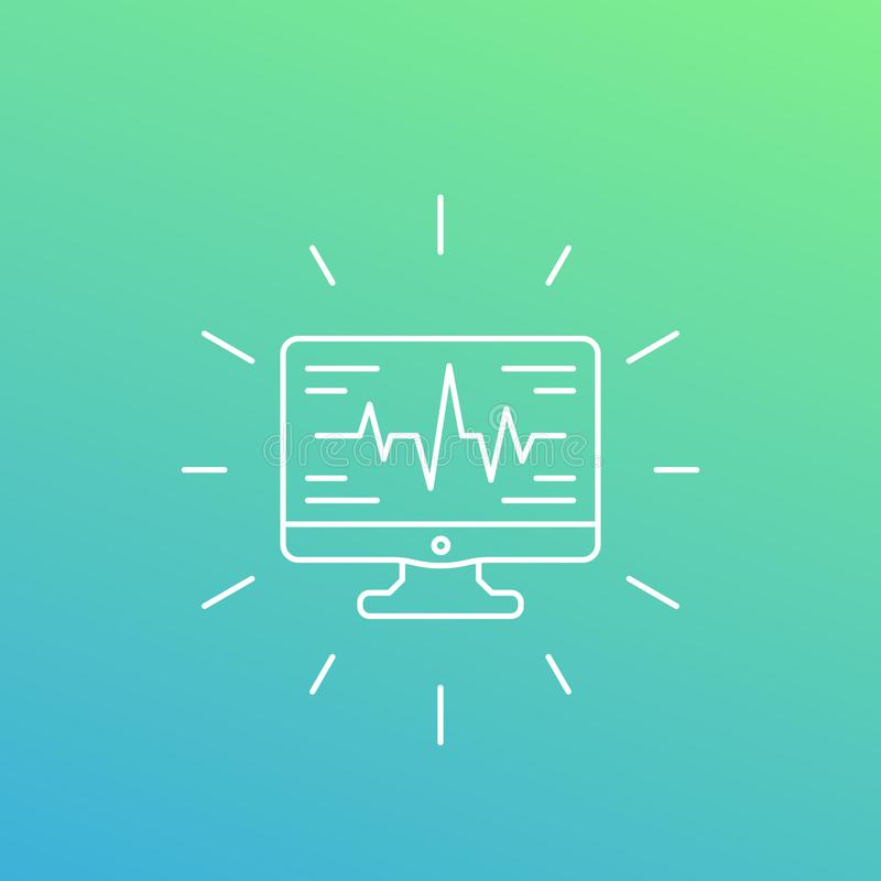 Ecg, heart diagnostics icon, linear style. Eps 10 file, easy to edit stock illustration