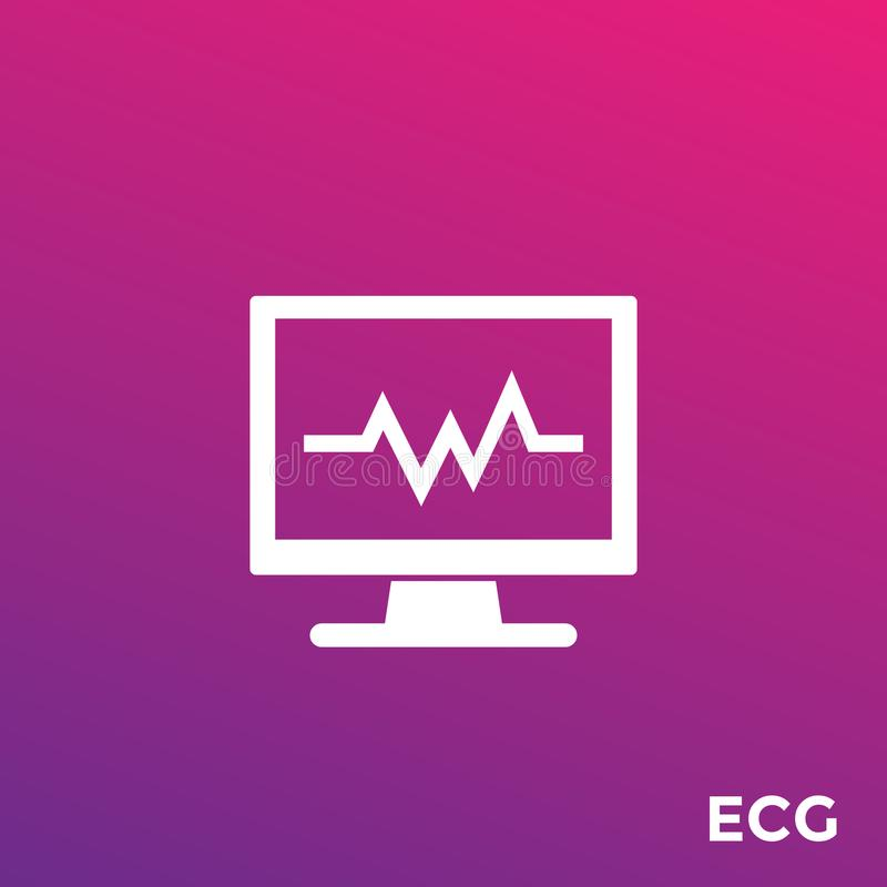 Ecg, heart diagnostics vector icon. Eps 10 file, easy to edit royalty free illustration