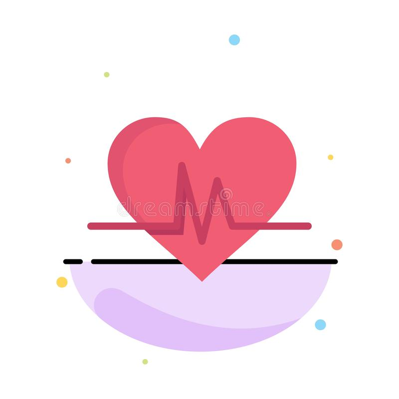 Ecg, Heart, Heartbeat, Pulse Abstract Flat Color Icon Template stock illustration