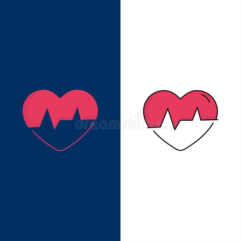 Ecg, heart, heartbeat, pulse, beat Flat Color Icon Vector stock illustration