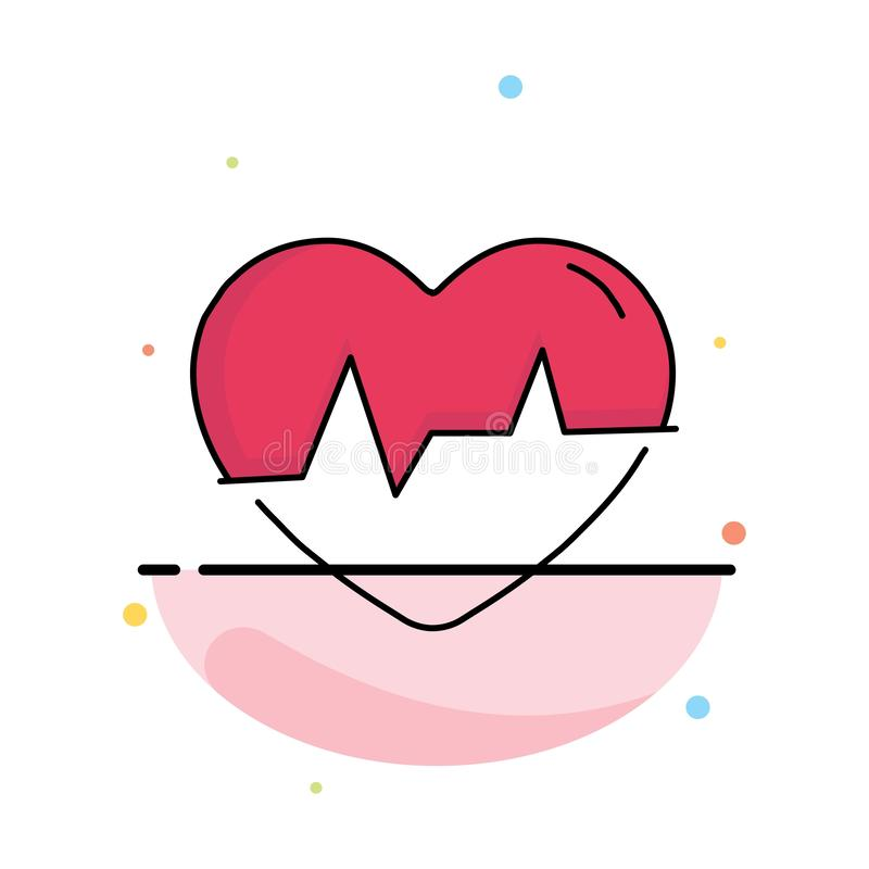 Ecg, heart, heartbeat, pulse, beat Flat Color Icon Vector vector illustration
