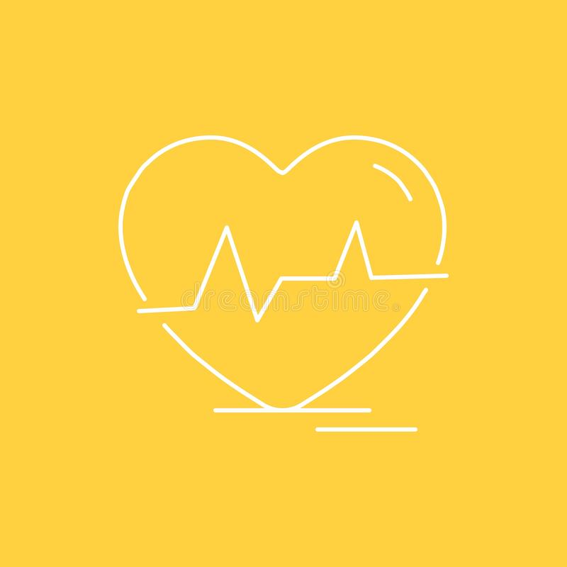 Ecg, heart, heartbeat, pulse, beat Flat Line Filled Icon. Beautiful Logo button over yellow background for UI and UX, website or. Mobile application. Vector stock illustration