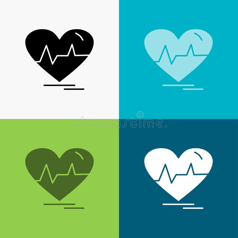 ecg, heart, heartbeat, pulse, beat Icon Over Various Background. glyph style design, designed for web and app. Eps 10 vector stock illustration