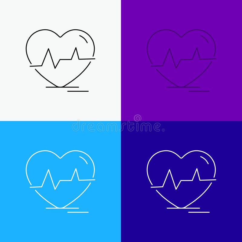 Ecg, heart, heartbeat, pulse, beat Icon Over Various Background. Line style design, designed for web and app. Eps 10 vector. Illustration. Vector EPS10 Abstract royalty free illustration