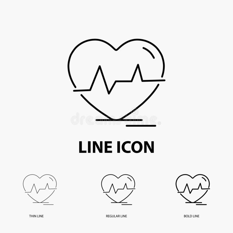Ecg, heart, heartbeat, pulse, beat Icon in Thin, Regular and Bold Line Style. Vector illustration. Vector EPS10 Abstract Template background vector illustration