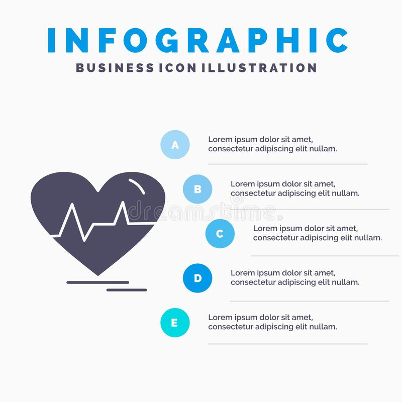 Ecg, heart, heartbeat, pulse, beat Infographics Template for Website and Presentation. GLyph Gray icon with Blue infographic style. Vector illustration.. Vector royalty free illustration