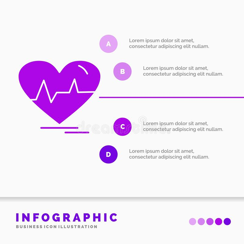 Ecg, heart, heartbeat, pulse, beat Infographics Template for Website and Presentation. GLyph Purple icon infographic style vector. Illustration.. Vector EPS10 royalty free illustration